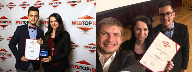 Červený diplom WebTop100 hlásá, že získáváme 1. místo za obsahový marketing